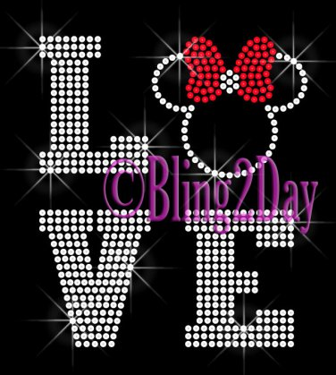 LOVE - RED Bow - Minnie Mouse - 2 LINE - Iron on Rhinestone Transfer Hot Fix Bling Kids Mom - DIY