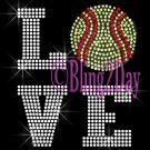 LOVE - Softball - 2 Line Version - Iron on Rhinestone Transfer Sport Mom - DIY