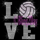 LOVE - Volleyball - 2 Line Version - Iron on Rhinestone Transfer Sport Mom - DIY
