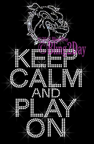 Keep Calm and Play On - BULLDOGS - Rhinestone Iron on Transfer Hot Fix Bling School Mascot Mom - DIY