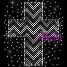 Zig Zag Cross - Black & Clear - Rhinestone Iron on Transfer Hot Fix Bling Zigzag Pattern - DIY