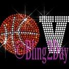 LOVE - Basketball - 1 Line Version - Iron on Rhinestone Transfer Sport Mom - DIY