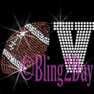 LOVE - Football - 1 Line Version - Iron on Rhinestone Transfer Sport Mom - DIY