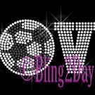 LOVE - Soccer - 1 Line Version - Iron on Rhinestone Transfer Sport Mom - DIY