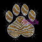 (L) Zebra Gold Paw Print Rhinestone Iron on Transfer Hot Fix Bling School Mascot - DIY