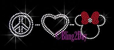 Peace Love - Minnie RED Bow - Iron on Rhinestone Transfer Hot Fix Bling Kids Mom