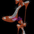 High Heel Set - ORANGE - Iron on Rhinestone Transfer Fashion Diva - DIY
