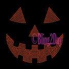 Pumpkin Face - ORANGE - Jack O Lantern - Iron on Rhinestone Transfer Hot Fix Halloween Bling - DIY