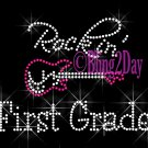 Rockin - First Grade - Pink Guitar - Rhinestone Iron on Transfer Hot Fix Bling 1st School - DIY