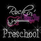 Rockin - Preschool - Pink Guitar - Rhinestone Iron on Transfer Hot Fix Bling School - DIY