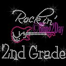 Rockin - 2nd Grade - Pink Guitar - Rhinestone Iron on Transfer Hot Fix Bling Second School - DIY