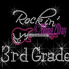 Rockin - 3rd Grade - Pink Guitar - Rhinestone Iron on Transfer Hot Fix Bling Third School - DIY