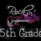 Rockin - 5th Grade - Pink Guitar - Rhinestone Iron on Transfer Hot Fix Bling Fifth School - DIY