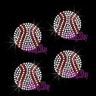 Set of 4 Baseball - Iron on Rhinestone Transfer Hot Fix Bling Sports - DIY
