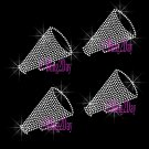 Set of 4 Megaphone - Cheer - Iron on Rhinestone Transfer Hot Fix Bling Sports - DIY