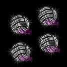 Set of 4 Volleyball - Iron on Rhinestone Transfer Hot Fix Bling Sports - DIY
