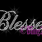 Blessed - Clear Letters Slanted - Rhinestone Iron on Transfer Hot Fix Merry Christmas - DIY