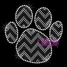 Huge Chevron BLACK Paw- Rhinestone Iron on Transfer Hot Fix Bling - DIY