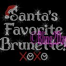 Santa's Favorite - BRUNETTE - Rhinestone Iron on Transfer Hot Fix Bling Merry Christmas - DIY