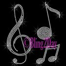 Music Note - Clef Note - Rhinestone Iron on Transfer Hot Fix Bling School Band - DIY