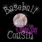 Baseball Cousin - C Rhinestone Iron on Transfer Hot Fix Bling Sports - DIY