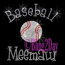 Baseball Meemaw - C Rhinestone Iron on Transfer Hot Fix Bling Sports - DIY