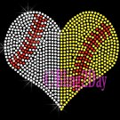 Large Split Sports Heart - Baseball Softball - Rhinestone Iron on Transfer Hot Fix Bling School