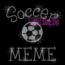 Soccer MEME - C Rhinestone Iron on Transfer Hot Fix Bling Sports - DIY