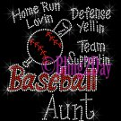 Baseball Aunt - Home Run, Support Team - Iron on Rhinestone Transfer Sport Mom - DIY