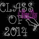 Class of 2014 - Iron on Rhinestone Transfer Hot Fix Bling Sport School - DIY