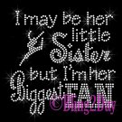 Dance Fan - HER Little Sister - Iron on Rhinestone Transfer Sports - DIY