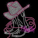 Boot & Hat - PINK - Cowboy Cowgirl - Rhinestone Iron on Transfer Hot Fix Bling - DIY