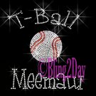 T-Ball Meemaw - C Rhinestone Iron on Transfer Hot Fix Bling Sports - DIY
