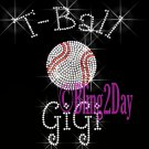 T-Ball GiGi - C Rhinestone Iron on Transfer Hot Fix Bling Sports - DIY