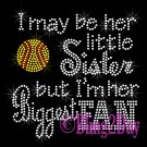 Softball Fan - HER Little Sister - Iron on Rhinestone Transfer Sports - DIY