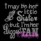Track Fan - HER Little Sister - Iron on Rhinestone Transfer Sports - DIY