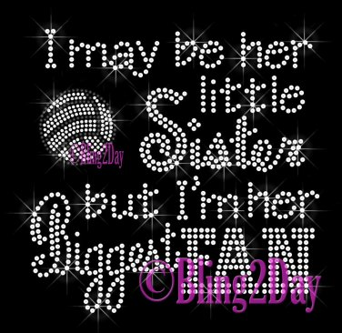 Volleyball Fan - HER Little Sister - Iron on Rhinestone Transfer Sports - DIY
