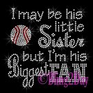 Baseball Fan - HIS Little Sister - Iron on Rhinestone Transfer Sports - DIY