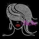 Afro Lady with Wavy Hair - CLEAR Swirls - Woman Rhinestone Iron on Transfer Hot Fix - DIY