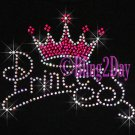 Princess - HOT PINK Crown - Rhinestone Iron on Transfer Hot Fix Bling Diva Kids - DIY
