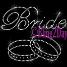 Bride - Double Ring - Rhinestone Iron on Transfer Hot Fix Bling Bridal Bride Series - DIY