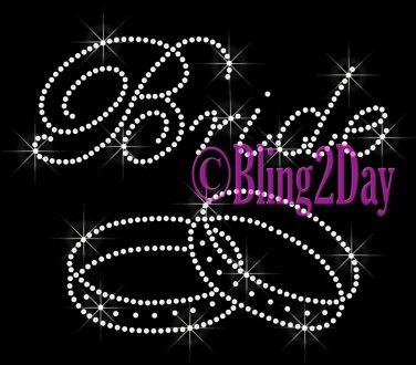 Bride - Double Ring - Rhinestone Iron on Transfer Hot Fix Bling Bridal Bride Series - DIY