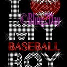 I Love My Baseball Boy - Heart - Rhinestone Iron on Transfer Hot Fix Bling - DIY