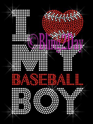 I Love My Baseball Boy - Heart - Rhinestone Iron on Transfer Hot Fix Bling - DIY