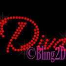 Diva - (M) - RED - Rhinestone Iron on Transfer Hot Fix Bling - DIY
