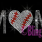 MoM - Baseball Heart - Iron on Rhinestone Transfer Sports Mom - DIY