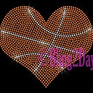 Large Basketball Heart - Rhinestone Iron on Transfer Hot Fix Bling School