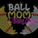 Ball Mom - Split Sports Ball - Baseball Softball - Iron on Rhinestone Transfer - Bling - DIY