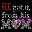 HE got it from his MoM - BASEBALL Heart - Iron on Rhinestone Transfer - Sports Mom - DIY