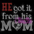 HE got it from his MoM - SOCCER Heart - Iron on Rhinestone Transfer - Sports Mom - DIY